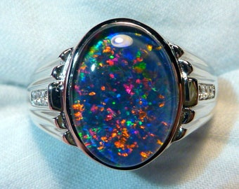 Mens Opal Ring Sterling Silver, Natural Opal Triplet. 16x12mm Oval . item 060554