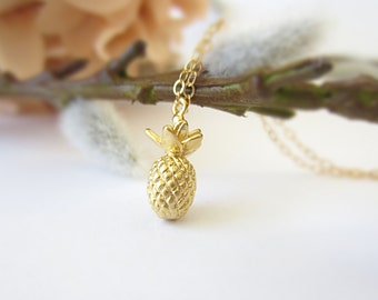 Pineapple necklace gold necklace delicate jewelry initial necklace silver pineapple jewelry minimalist jewelry layering necklace birthstone