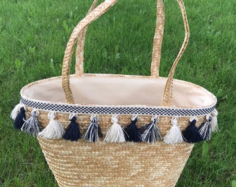 Navy & Cream Tassel Tote Bag