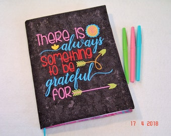 Gratitude Quote Embroidered Composition Notebook Cover