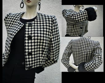Pure wool Bolero/vintage 80s/Pied de poule cream White-black/Houndstooth/sleeves with real fur/Made in Italy/size S/M