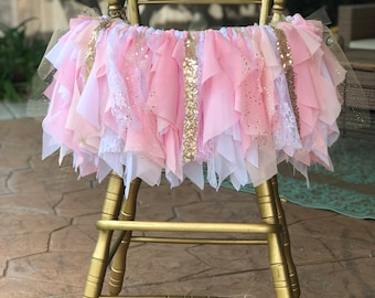 Pink and Gold High Chair Banner, Pink and Gold Highchair Tutu, Pink and Gold HighChair Banner, Pink and Gold Fabric Banner