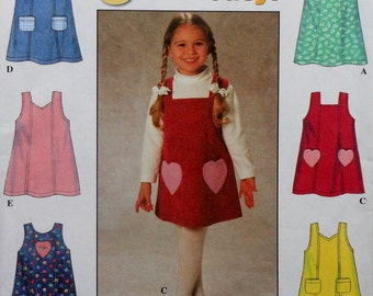 Girl's Jumper Dress Sewing Pattern UNCUT Simplicity 7730 Sizes 3-6