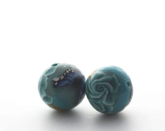 Turquoise Beads, Polymer Clay Beads, Round Beads, Bead Pair, Sea Garden, 2 Pieces