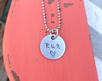 Runners Necklace - Run Necklace - Gift for a Runner - Hand Stamped Necklace - Thoughtful Gift - Marathon Gift - Half Marathon Gift - 5k Gift