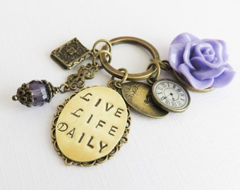 Personalized purple flower keychain, bag charm with a quote, inspirational gift about life, initial keyring, gift for her