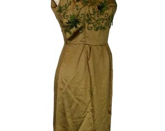 Original Vintage 1950's Moss Green Satin Beaded Barbette Couture Evening Dress & Coat