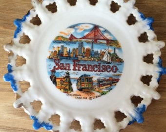Vintage Kitschy San Fransisco Souvenir Plate, Flea Market Decor