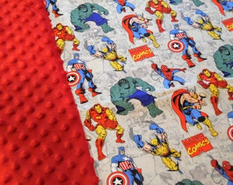 "Marvel Avengers on Tan Minky Blanket 36"" x 42"""