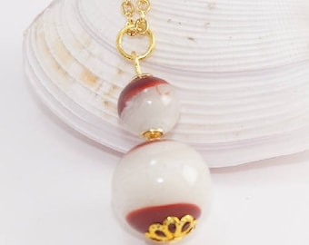 Pearl Necklace Pearl chain Lampwork Glass gold - plated A04-023