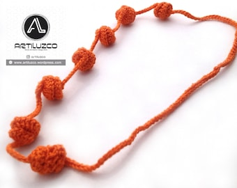 Orange Irisbo, Crochet necklace, Necklace in natural fibers, Handmade knitted necklace