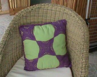 Green and purple decorative cushion, cushion