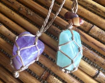 Macrame knotted boho gemstone necklace emerald or amethyst