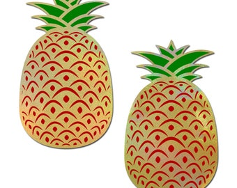 Pasties - Pineapple: Pineapple on Holographic Yellow Nipple Pasties by Pastease® o/s