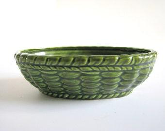 Vintage Green Ceramic Planter - Woven Look Parma AAI