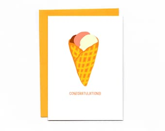 Conegratulations - celebration - wedding - graduation - funny card - ice cream - waffle cone - special treat