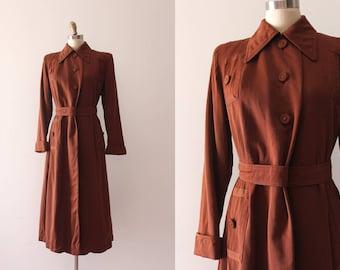 vintage 1940s coat // 40s brown wool coat