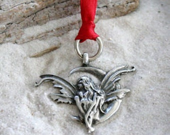 Pewter Fairy Crescent Moon Faerie Fey Christmas Ornament and Holiday Decoration (46H)