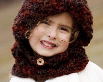 Hooded Cowl, Hooded neck warmer, hooded scarf, winter hat // Sizes from Toddler to Adult // Many Colors to choose from// Free Shipping