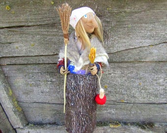 Witchcraft supply hedgewitch doll Witch house doll wicked witch art doll Baba yaga kitchen witch gift folklore doll Halloween witch doll toy