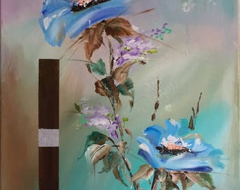 Acrylic painting modern floral decor