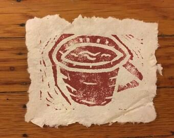 Teacup Linocut Print on Handmade Recycled Paper