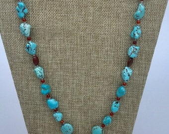 Ladies turquoise Howlite and red jasper necklace.