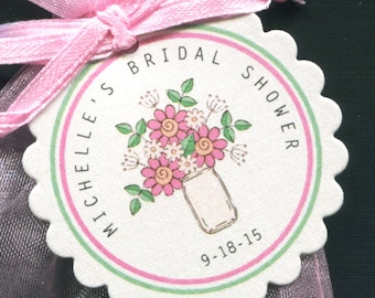 Personalized Bridal Shower Favor Tags - Bridal Shower Tags - Gift Tags - Wedding Tags - Floral Tag - Pink Daisies - Personalized Tag - 25