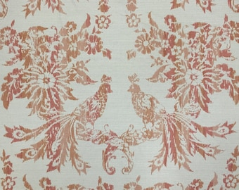 Greeff Ikat - Greeff Bird Fabric - Cooper House Ikat - Coral - Upholstery Fabric by the Yard