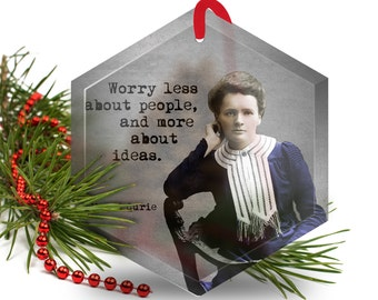 Christmas Ornament - Marie Curie - Famous Scientist - Beveled Glass