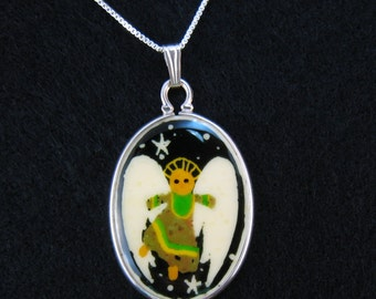 Angel Pendant - Guardian Angel - Angel Jewelry - Memorial Jewelry - Rememberance Necklace GREEN