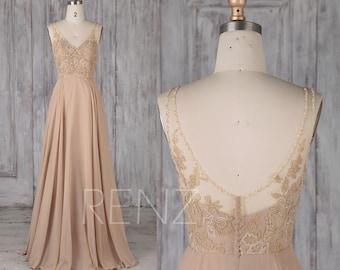 Bridesmaid Dress Champagne Chiffon Dress,Wedding Dress,V Neck Beaded  Maxi Dress,Sleeveless Party Dress,Illusion Lace Back Prom Dress(L478)