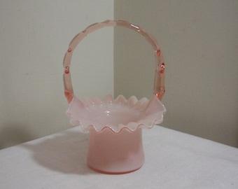 Vintage Fenton Glass Rose Overlay Hat Basket