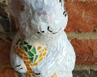 Stained Glass Mosaic White and Brown Whimsical Bunny with Carrot Statue