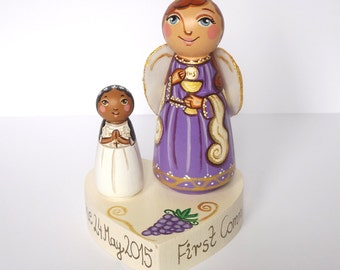 Personalized First Communion Cake topper Angel figurine Girl First communion girl First communion gifts for girls Holy communion cake topper