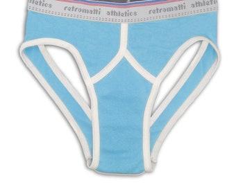 Retro jock briefs in powder blue new jockey briefs 80s 70s y fronts mens briefs rainbow underwear gay underwear contrast piping geek modern