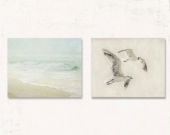 Set of Two Bathroom Prints, Bathroom Wall Art Set, Coastal Wall Art Set, Set of Two Bathroom Canvases, Beach Wall Decor Set of Two
