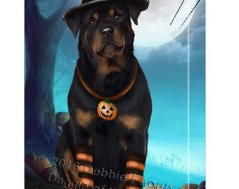 Happy Halloween Trick or Treat Rottweiler Dog Candy Corn Canvas Wall Art