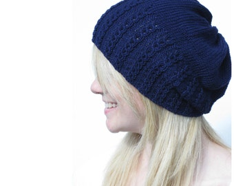 Faux Cable Slouchy Hat Knitting Pattern PDF