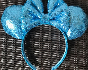 Light Blue Full Sequin Minnie Mouse Ears
