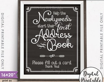 "Address Book Wedding Sign, Ask Guests for their Address, Create Address Book Sign, Instant Download 8x10/16x20"" Chalkboard Style Printable"