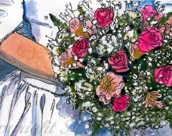 watercolor wedding portrait | wedding art | wedding gift ideas | watercolor painting | unique wedding gifts, wedding presents, bridal gifts