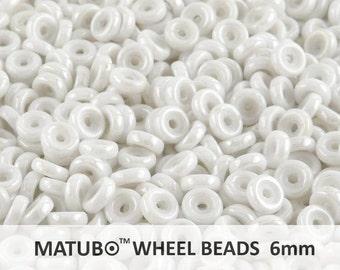 10gr (ab.80pcs) 6mm WHEEL MATUBO Beads, Pressed Czech Glass, Chalk White Luster (WB001)
