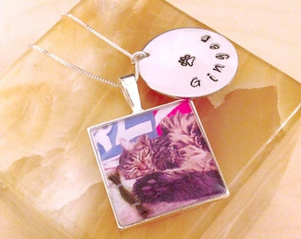 Photo Necklace Hand Stamped Necklace - Sterling Silver Necklace Customized with Your Photo - Square Photo Pendant -