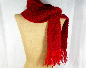 Red skinny scarf, hand knit scarf, womens knit scarf, long skinny scarf, mens knit scarf, knitted red scarf, ribbed knit scarf