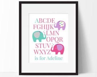 Elephant Nursery Decor, Elephant ABCs Print, Personalized kids Gift, Personalized Baby Name