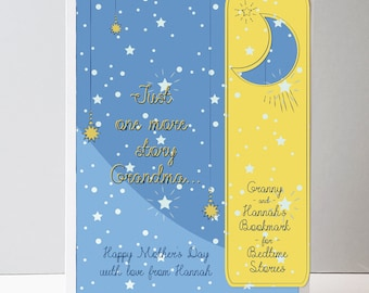 Personalized Card for grandma with bookmark - Mother's day card - Bedtime story card - book lover card - uk free delivery