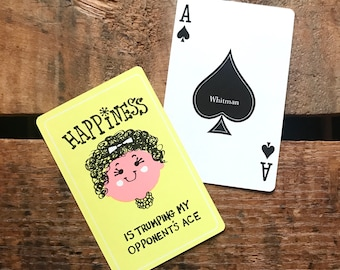 Vintage Playing Cards - Set of 6 - Cute Lady, Vintage Girl Cards, Girl Playing Cards, Yellow Cards, Happiness Cards, Junk Journal, Ephemera