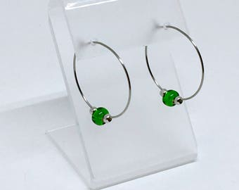 Earrings stainless steel with green beads