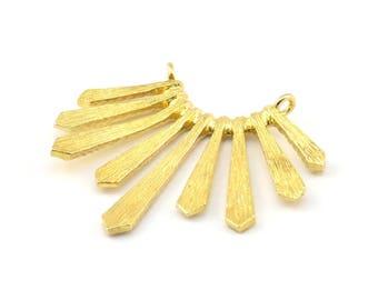 Brass Sun Pendant, 2 Raw Brass Textured Sunny Pendants With 2 Loops (37x33.5x2mm) BS 1991